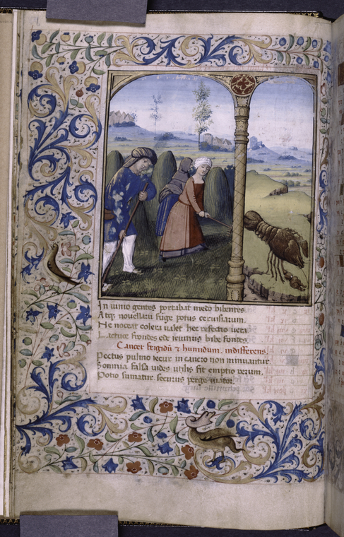 1485 -99 - Book of Hours (Paris); June, the month's activity (scything the hay), and the month's zodiac (Cancer)