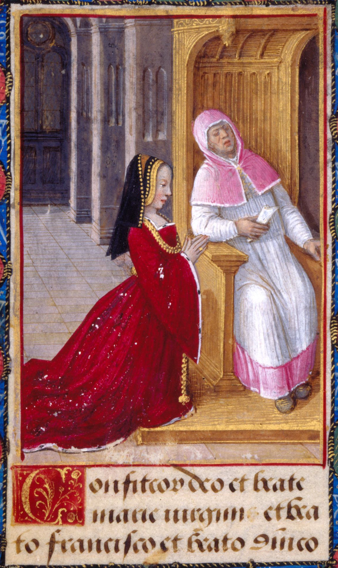 1495 (approx) - Anne de Bretagne at Confession - Prayer Book of Anne de Bretagne - Illuminated by Jean Poyer
