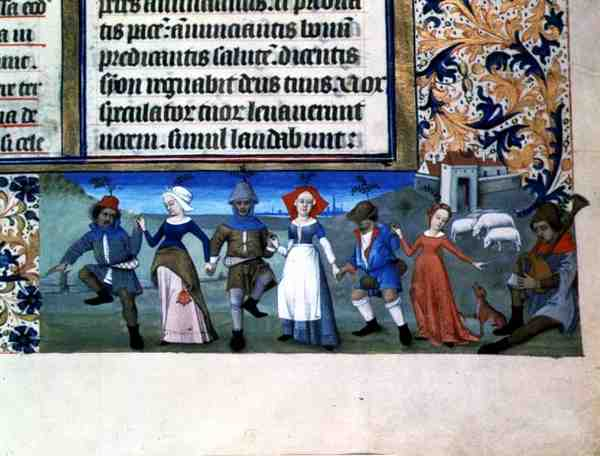 date unknown - FRENCH SCHOOL - Dance of the shepherds, from the Hours of Charles of Angouleme