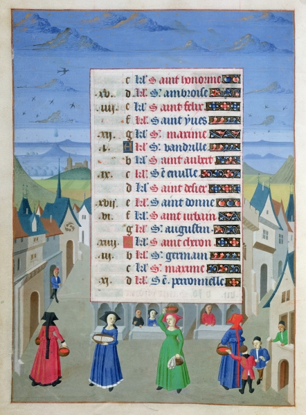 1450 - FRENCH SCHOOL - May, A Street Scene, from the Hours of the Duchess of Burgundy