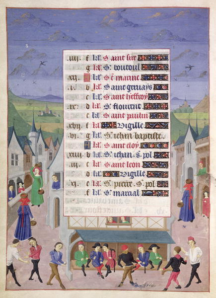 1450 - FRENCH SCHOOL - June, A Street Scene, from the Hours of the Duchess of Burgundy