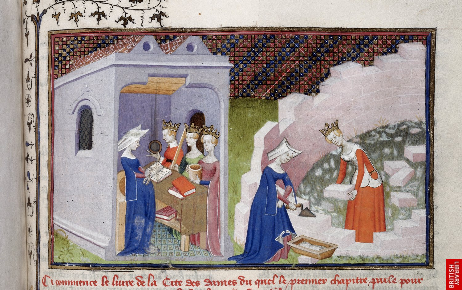 1410 - The Book of the Queen - bulding of the Cite des dames - by Master of the Cite Des Dames