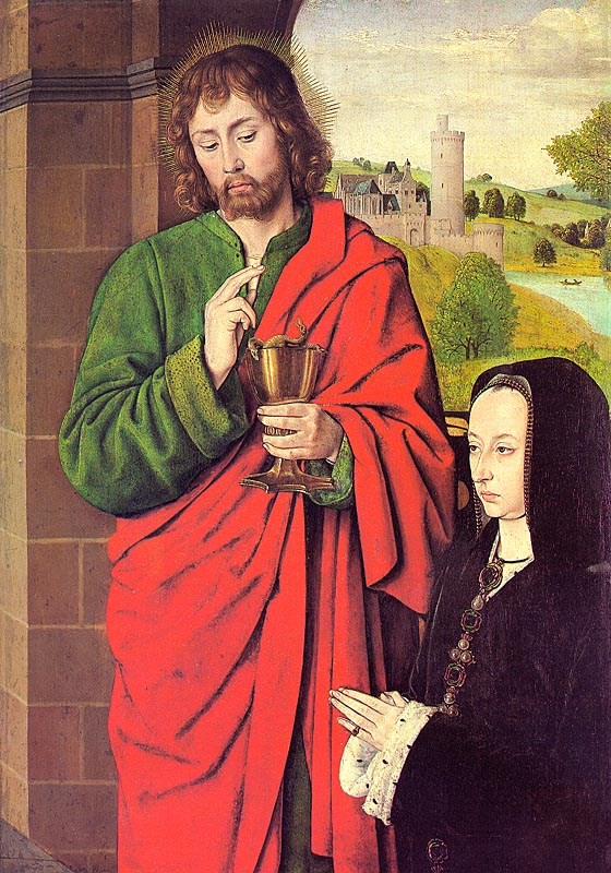 1492 - Anne of France presented by St John the Evangelist - by Master of Moulins (Jean Hey)