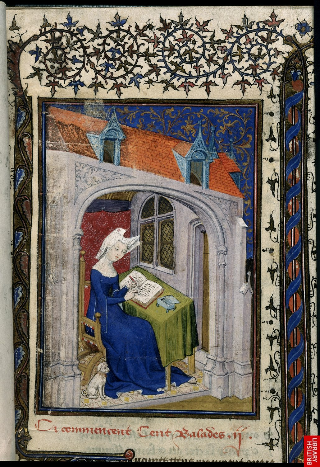 1410 - The Book of the Queen - Christine de Pizan in her study - by Master of the Cite Des Dames