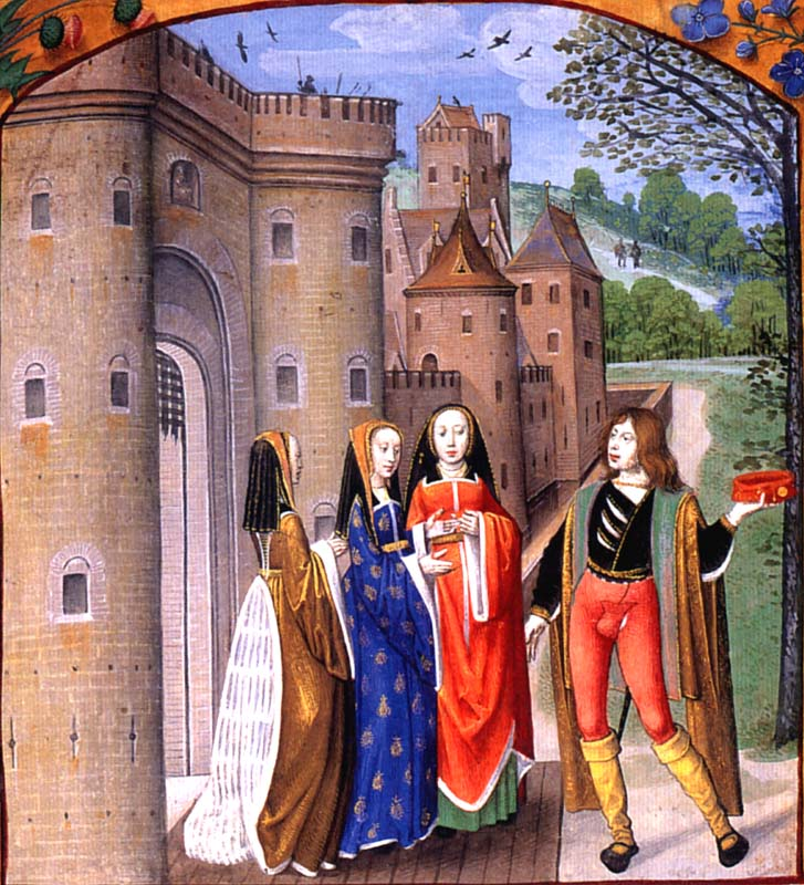 1490 -1500 - A lover addressing three ladies, from Poems of Charles of Orleans and other works by MASTER of the PRAYER BOOKS;