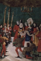 1488-89 - The Queen presenting the prize for a jousting tournament, from Livre des Tournois de Rene d'Anjou