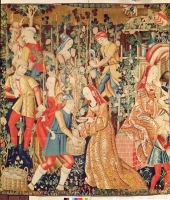 date unknown - FRENCH SCHOOL; Gathering Grapes, detail of The Grape Harvest (tapestry)