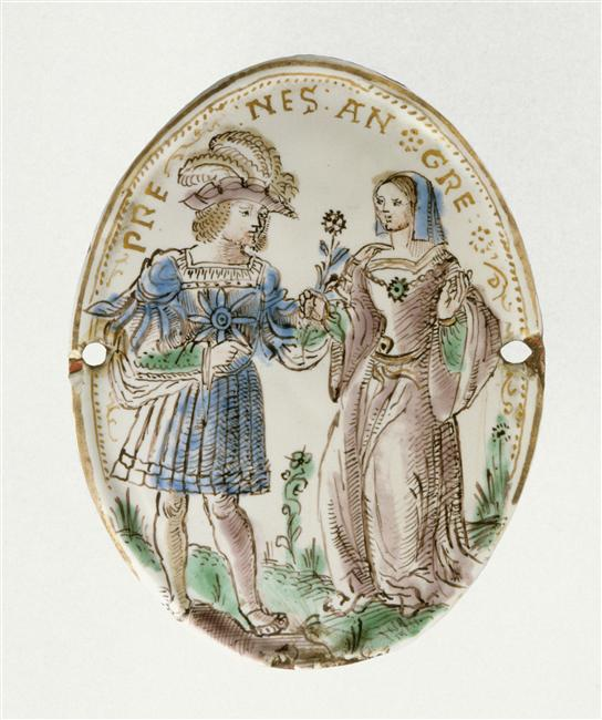 date unknown - Plaque ovale: Scène galante