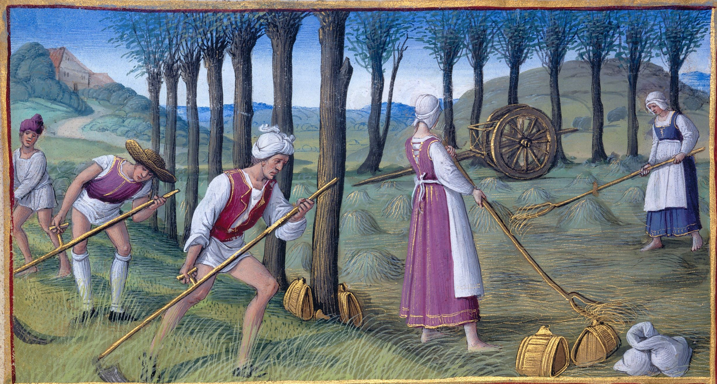 1500 - Book of Hours by Jean Poyer, known as The Hours of Henry VIII - June: Mowing
