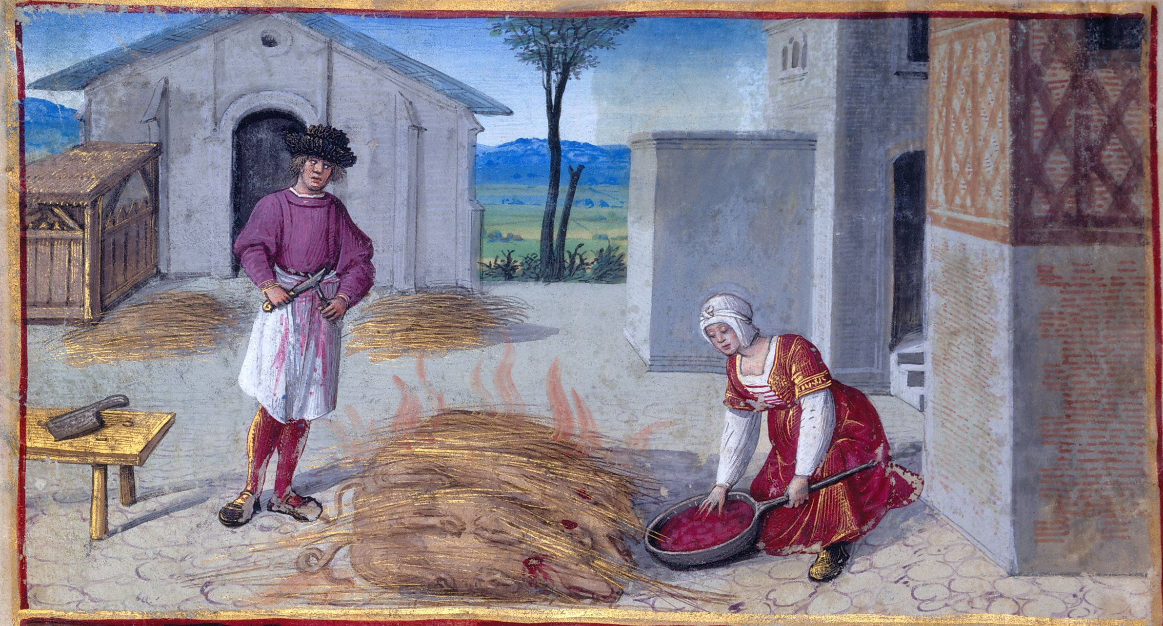 1500 - Book of Hours by Jean Poyer, known as The Hours of Henry VIII - December: Roasting Slaughtered Pigs