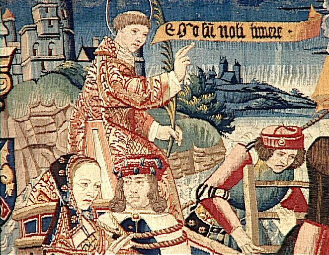 1500 (approx) - Légende de saint Etienne (scène 14, 15, 16) : Une noble femme de Constantinople ramène le corps de son mari,