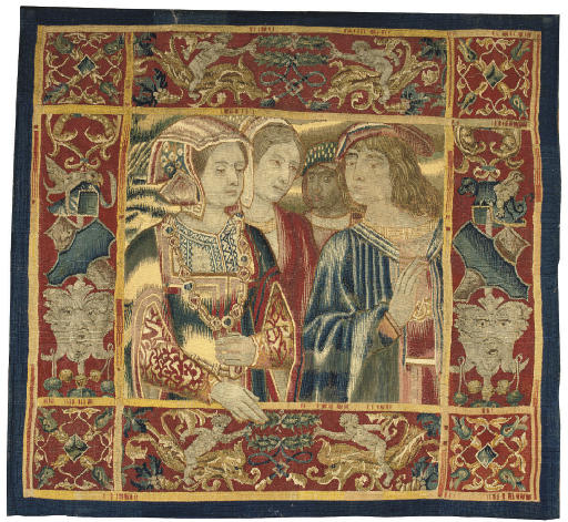 date unknown - early 16th century (border 17th century) - A FRANCO-FLEMISH TAPESTRY FRAGMENT