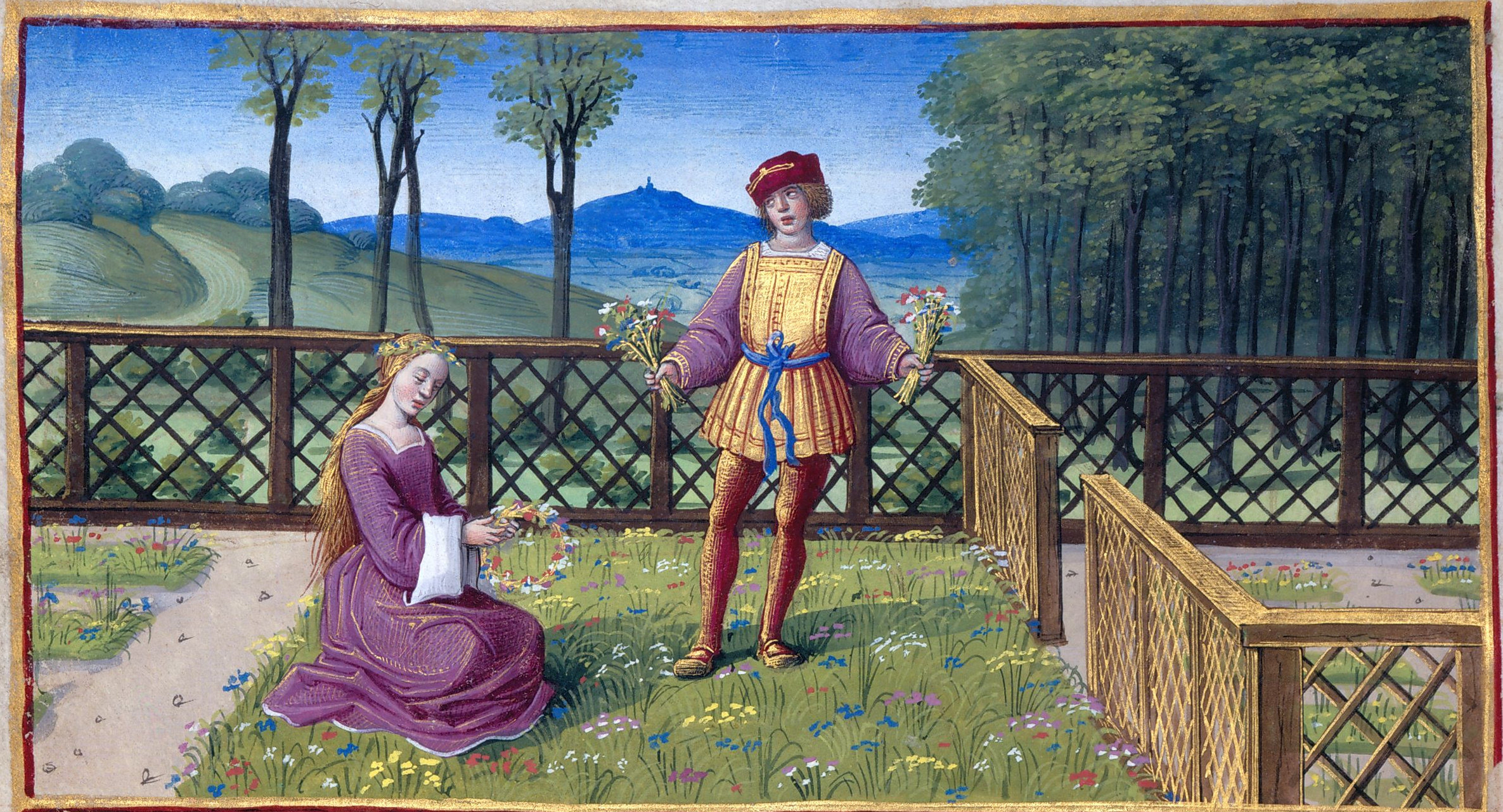 1500 - Book of Hours by Jean Poyer, known as The Hours of Henry VIII - April: Picking Flowers and Making Wreaths
