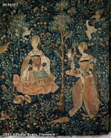1500 (approx) - Tapestry of the scenes of Court: gentlewoman embroidering - Cluny museum