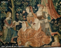 1500 (approx) - Tapestry of the scenes of Court: gallant scene - Cluny
