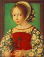 1520 (approx) - Young Girl with Astronomic Instrument by GOSSAERT, Jan (Mabuse)