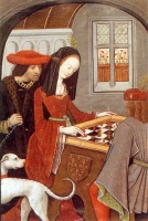 1500 (approx) - from Book of Chess Lovers by Louise de Savoy - Francis I and Margueritte de Navarre playing chess