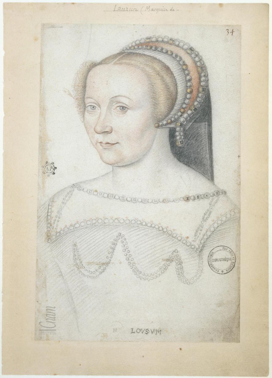 date unknown (c1550 based on similar sketch) - Charlotte du Moulin, comtesse de Lauzun - Le