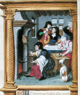 1525 - Book of hours - February (Cooking and feasting) - by Master Jean de Mauleon