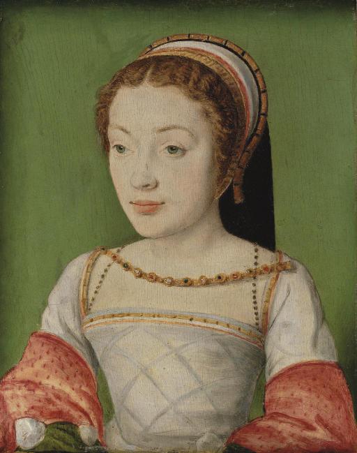 1520s - (estimated on date of birth of subject) -Portrait of Renée de France (1510-1574) by Corneillede Lyon