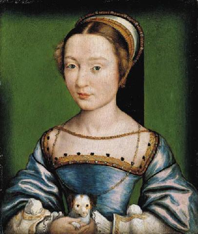 1530s (approx) - Portrait of a lady in a blue dress, holding a puppy Corneille de Lyon