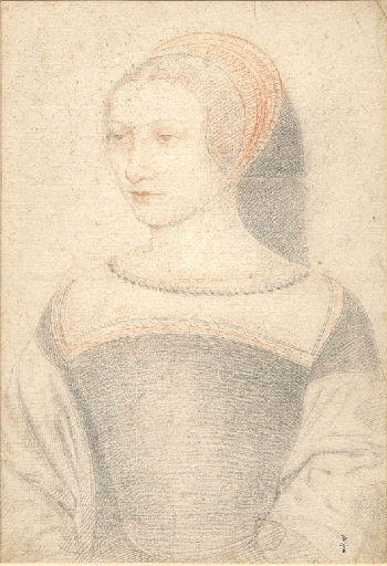 1549 (approx) - unknown woman (prob Charlotte de Moulin, demoiselle de Bry) - school of Clouet - http://www.culture.gouv.fr