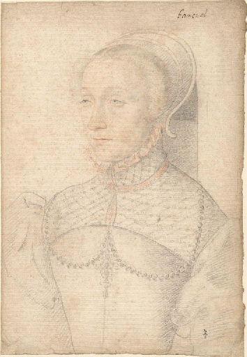 1537 - school of Jean Clouet -unknown woman (prob Diane of France, duchesse de Montmorency) - http://www.culture.gouv.fr/