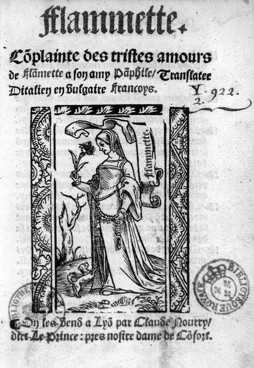 1532 - Title page engraving from Illustrations de Flammette, complainte des tristes amours de Flammette à son amy Pamphile