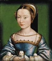 1530s (approx) - Portrait of a lady in a blue dress, holding a puppy  Corneille de Lyon