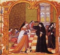 1540 (approx) - miniature, queen Marguerite de Navarre gifting her book, Le débat d'amour to Anne de Pisseleu