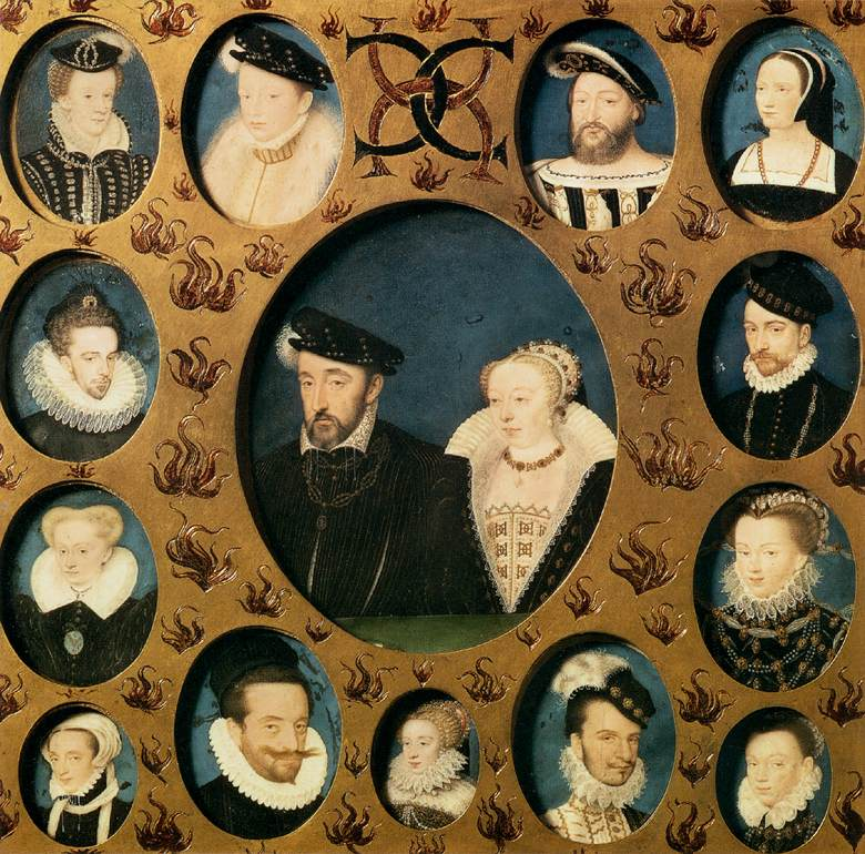 date unknown - Henri II of Valois and Caterina de' Medici, Surrounded by Members of Their Family - CLOUET, François