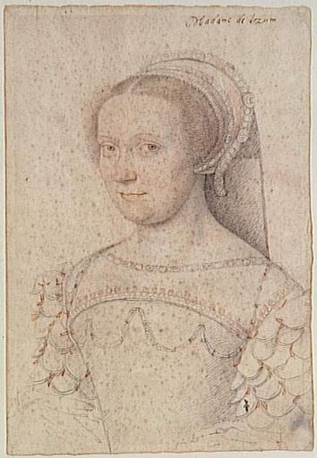 1550- Charlotte Du Moulin, dame de Caumont de Lauzun (de La Roche-Audry - school of Jean Clouet