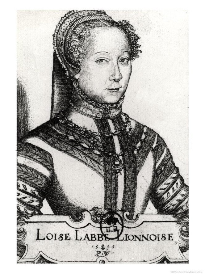 1555 - Engraving of Louise Labé/Loise Labbe (1522-1566), French poet - by Pierre Woeiriot (1532-1599)