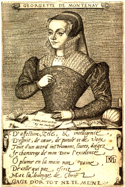 1567 - Engraving of Georgette de Montenay (1540 - ca. 1581), French author of