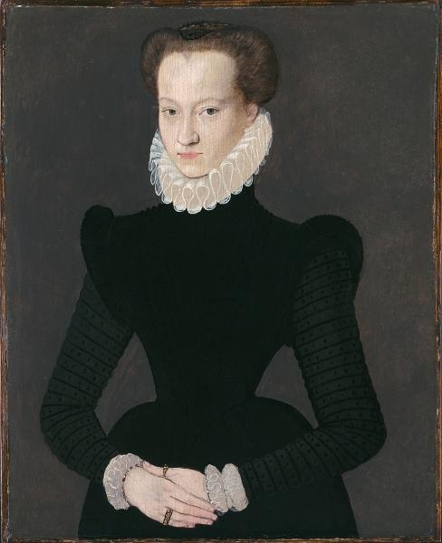 1575 - Portrait of a lady in a black dress - school of Clouet