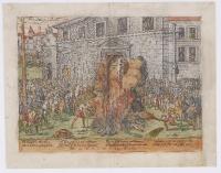 1568 -1590 - Gravure légendée en allemand représentant le supplice d'Anne du Bourg (2-3 décembre 1559) - Perrissin and Tortorel