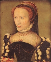 1574 - Portrait of Gabrielle de Rochechouart - by CORNEILLE DE LYONMusée Condé, Chantilly