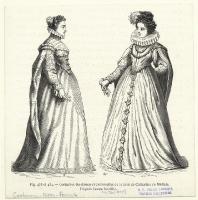 date unknown - Costumes des dames et demoiselles de la cour de Catherine de Médicis. - Vecellio, Cesare