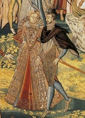 1573 - Detail of Valois Tapestry depicting a ball held by Catherine de' Medici at the Tuileries Palace, Paris, in 1573