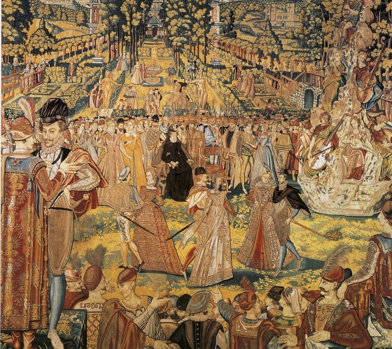 1573 - Valois Tapestry depicting a ball held by Catherine de' Medici at the Tuileries Palace, Paris, in 1573