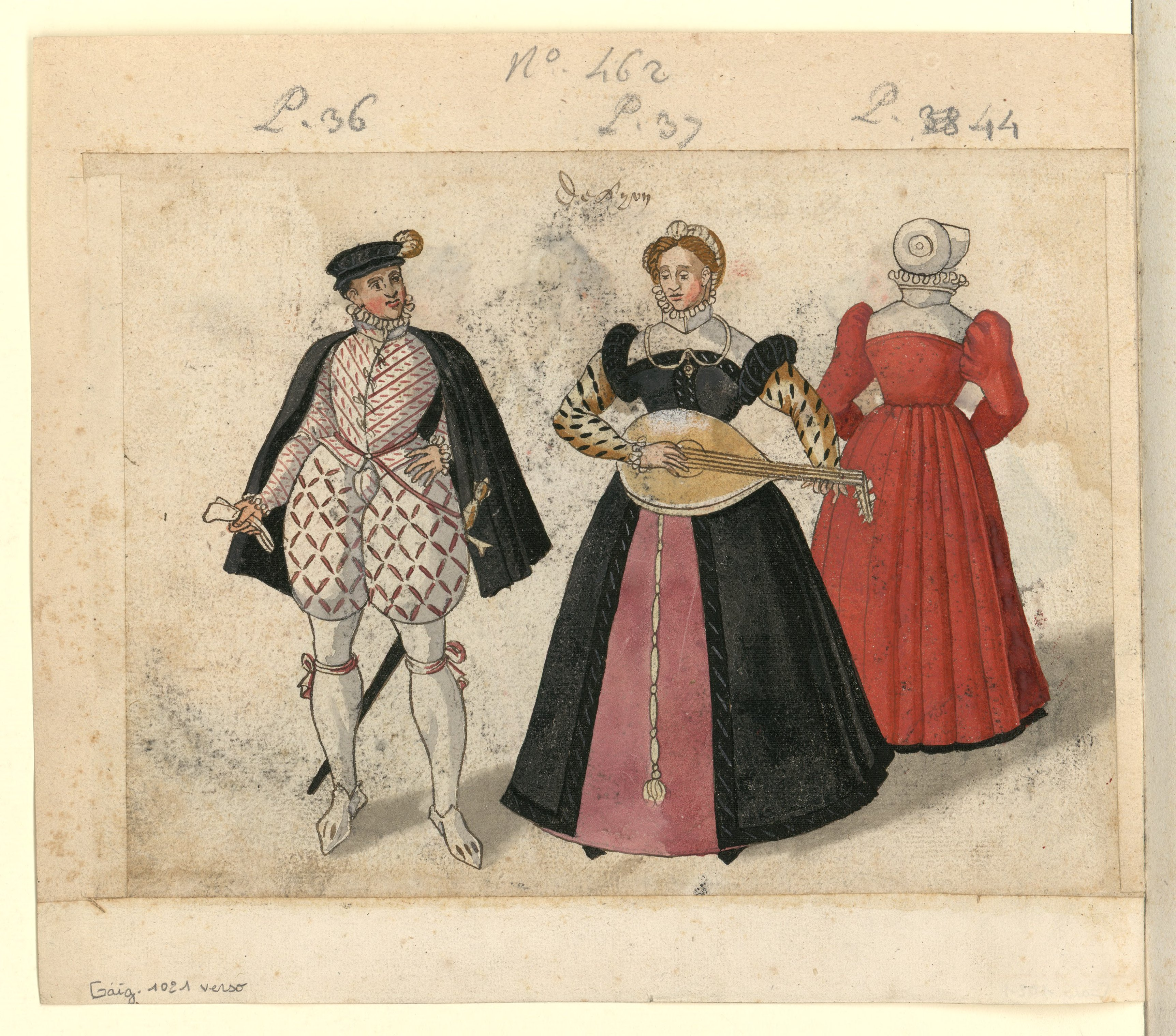 1572 - Feuillet recto et verso détaché d'un volume ayant appartenu à Gaignières, où sont représentés des courtisans et des bourgeoises de Paris et de Lyon en 1572