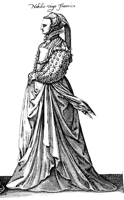 1581 - French noble virgin - Habitus Variarum Orbis Gentium - Boissard