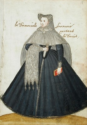 1595 - French lady dressed in mourning - Album Amicorum of a German soldier