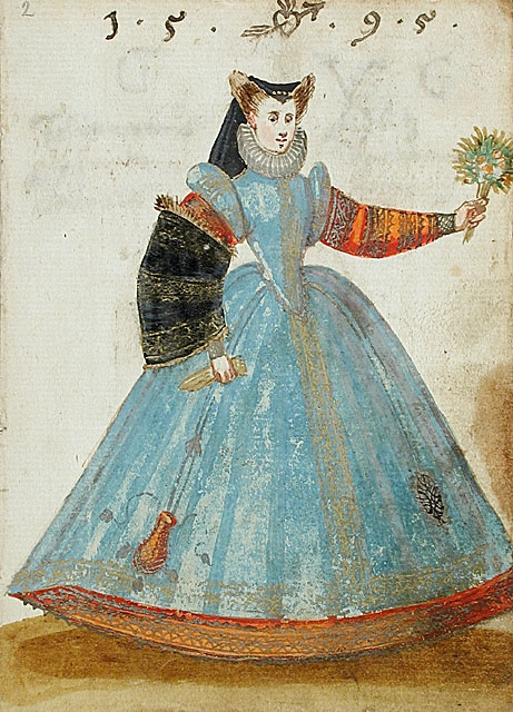 1595 - Lady Dressed in French Fashion - Album Amicorum of a German soldier