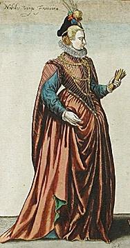 1581 - French noble woman - Habitus Variarum Orbis Gentium - Jean-Jacques Boissard