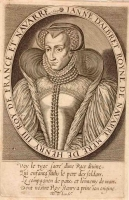 1597 - Jeanne d'Albret à mi-corps, portant une coiffe (de veuve) - Thomas de LEU - engraving after subject's death